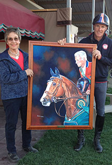Artist Doreen Irwin with completed painting