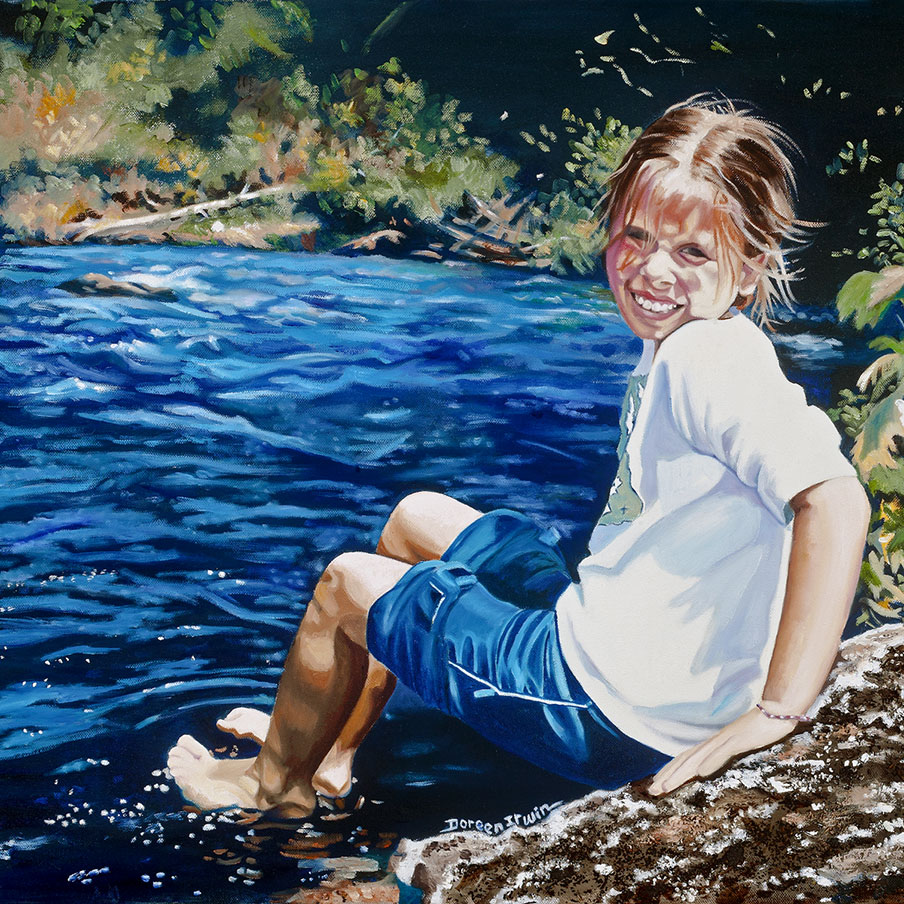Oil Painting Portrait 'Testing the Water' by Doreen Irwin
