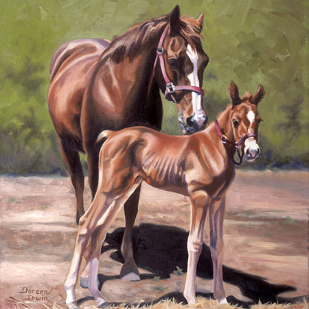 Equestrian Oil Painting 'Dressed Like Mom' by Doreen Irwin